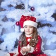 Cute girl and Christmas Tree — Stockfoto #16980903