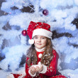 Cute girl and Christmas Tree — Stock Photo #16980903