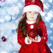 Cute girl and Christmas Tree — Stock fotografie
