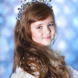 A little girl dressed elegantly played princess — Стоковая фотография