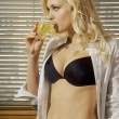 Beautiful sexy woman with a glass of wine — Stock Photo #18553301