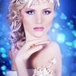 Picture of lovely young blonde woman in crown — Stock Photo