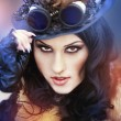 Beautiful steampunk model - Stock Photo