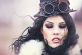 Beautiful steampunk model — Стоковое фото