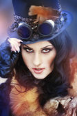 Beautiful steampunk model — Stock Photo