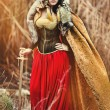 Постер, плакат: Valkyrie Viking girl with sword
