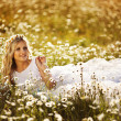 Portrait of a beautiful bride in a field of daisies — Stock Photo