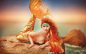 Fairy mermaid on the sea — Stockfoto