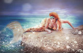 Mermaid on a sea — Stock Photo