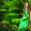 Beautiful girl in green dress in fairy forest — Stock Photo #27925443