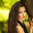 Portrait of beautiful girl in black dress near tree — Stock Photo