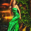 Beautiful girl in green dress in fairy forest — Stock Photo #28560389