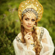 Stock Photo: Russibeauty in headdress