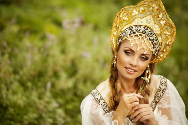 Russian beauty in headdress