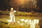 Beautiful Russian princess from a fairy tale — Foto de Stock