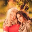 Two girlfriends in the park in autumn — Stock Photo