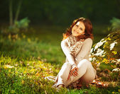 Portrait of a Woman in autumn clothes — Stock Photo