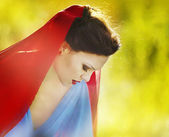 Snow White in the fairy forest — Stock Photo