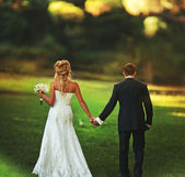 Newlyweds walking on green meadow holding hands — Foto Stock