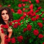 Woman near rose bushes — Stock Photo #47155577