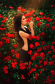 Woman over red roses bush — Stock Photo