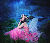 Enchanting Nymph in  forest — Stock Photo