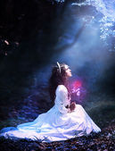 Girl with red rose on moonlight — Stock Photo