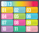 Yearly 2013 Calendar — Stock Vector