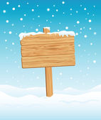Blank Wooden Sign in Winter — Stock Vector