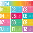Stock Vector: 2014 Yearly Calendar