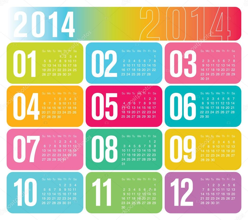2014 Yearly Calendar — Stock Vector © photosoupy #34676061
