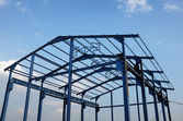 Steel frame of a new industrial building — Stock Photo