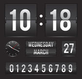 Retro flip clock with date and dual timer — Vettoriale Stock