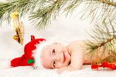 Little boy in Santa Claus hat — Stock Photo