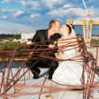 Kissing couple wedding portrait  — Foto Stock