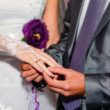 Groom wears the ring bride — Stockfoto