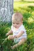 Kleiner Junge sitzt auf dem Rasen — Stockfoto