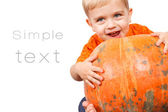 Child in pumpkin suit on white background — Stock Photo