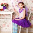 Portrait of a beautiful baby girl wearing a pink ballet tutu — Stock Photo