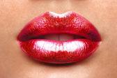 Sexy Lips. Beauty Red Lip Makeup Detail. Beautiful Make-up Closeup. Sensual Open Mouth. lipstick or Lipgloss. Kiss. Beauty Model Woman's Face close-up — Stock Photo