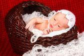 Yeni doğan bebek kız bir battaniye uyuyor. — Stok fotoğraf