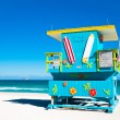 Colorful Lifeguard Tower in Miami Beach, Florida — Stock Photo