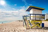 在佛罗里达州迈阿密海滩,南部海滩救生塔 — 图库照片