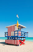 Lifeguard Tower in South Beach, Miami Beach, Florida — Stock Photo