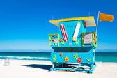 Bunte lifeguard turm in miami beach, florida — Stockfoto