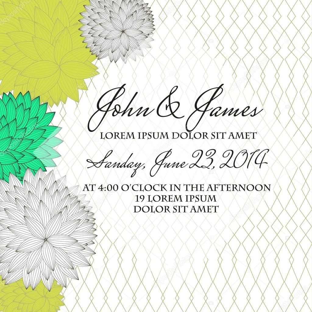 Invitation or wedding card with abstract floral background. — Stock Photo #21329573
