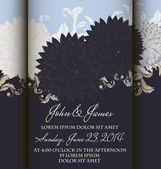 会議出席依頼または抽象的な背景が花のウェディング カード. — ストックベクタ