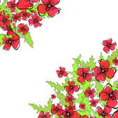 Vector poppy background — Stock Vector