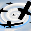 Silhouettes of aircraft — Foto Stock #21838183