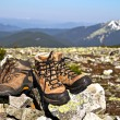 Old used boots against of mountain landscape — Stock Photo